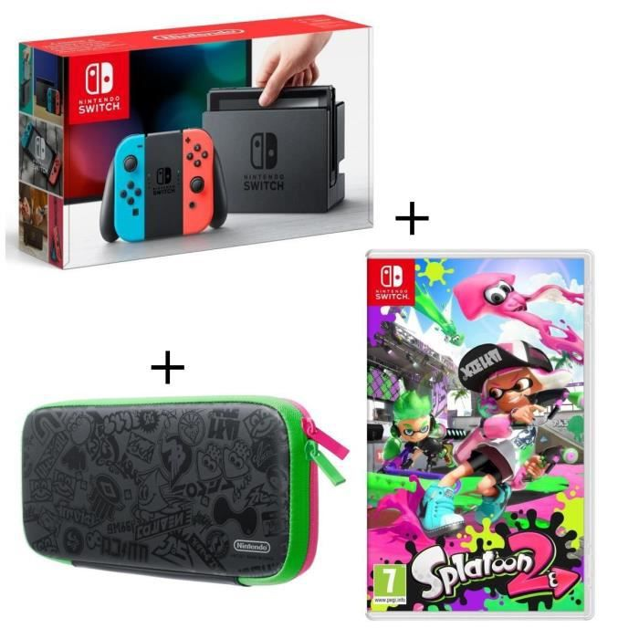 Console Nintendo Switch avec Joy-Con Néons + Jeu Splatoon 2 + Sacoche Splatoon 2