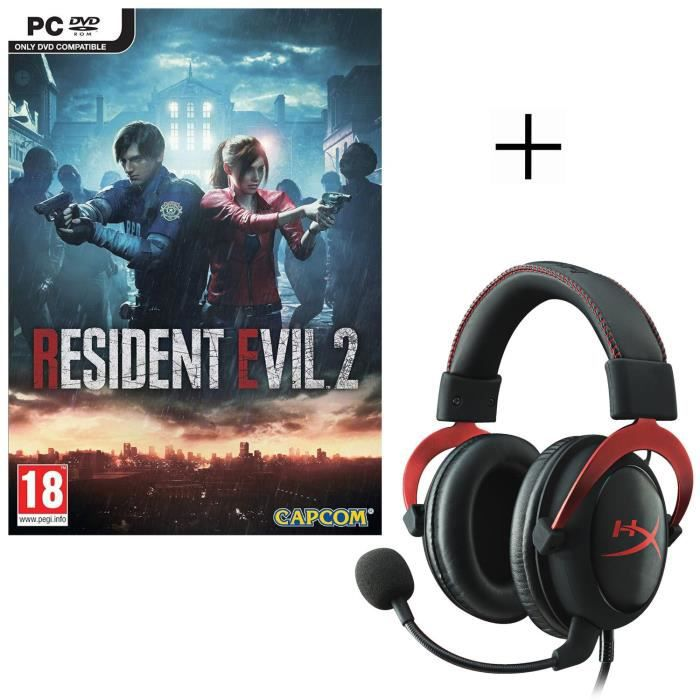 Resident Evil 2 Jeu PC + HyperX Micro-Casque Gamer Cloud II Filaire Rouge Surround 7.1