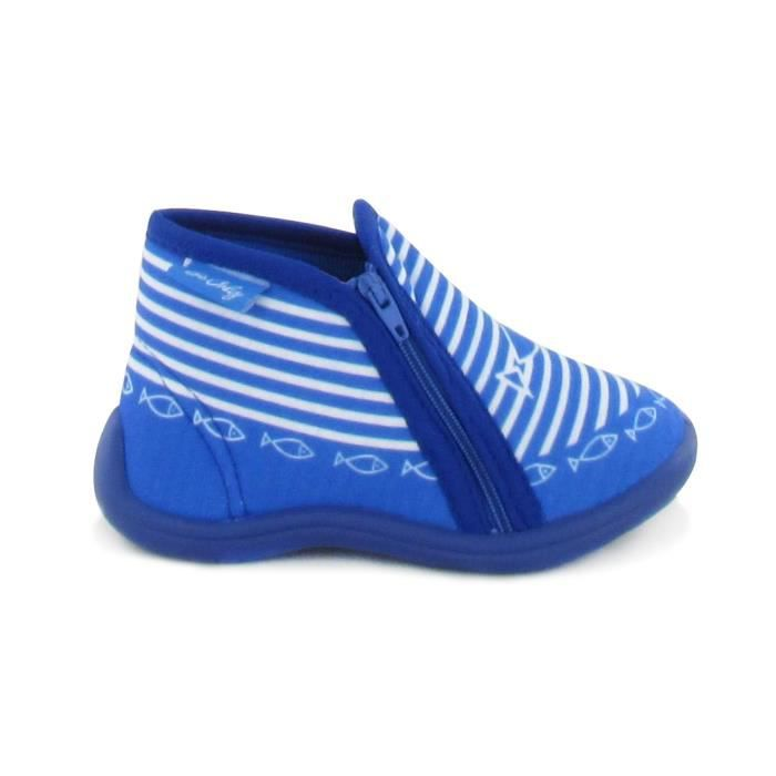 BEONLY Chaussons Timousson ZIP - Enfant Mixte - Bleu
