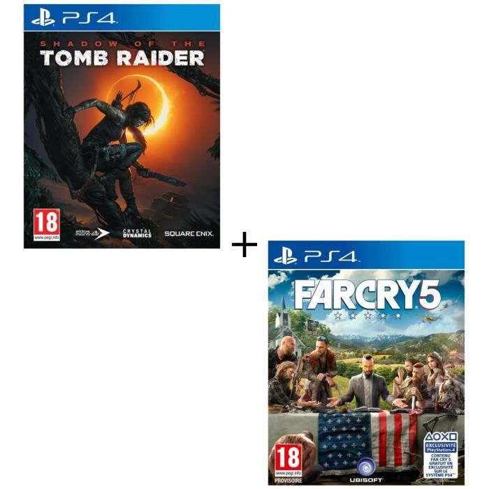 Pack 2 jeux PS4 : Shadow of the Tomb Raider + Far Cry 5