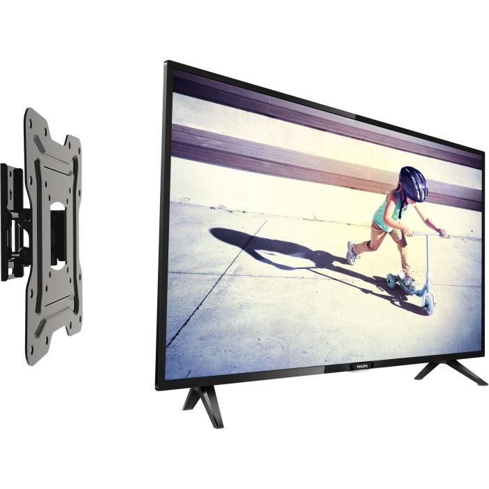 Pack philips 32pht4112 tv led hd 80 cm inotek moov 100 support tv orientable