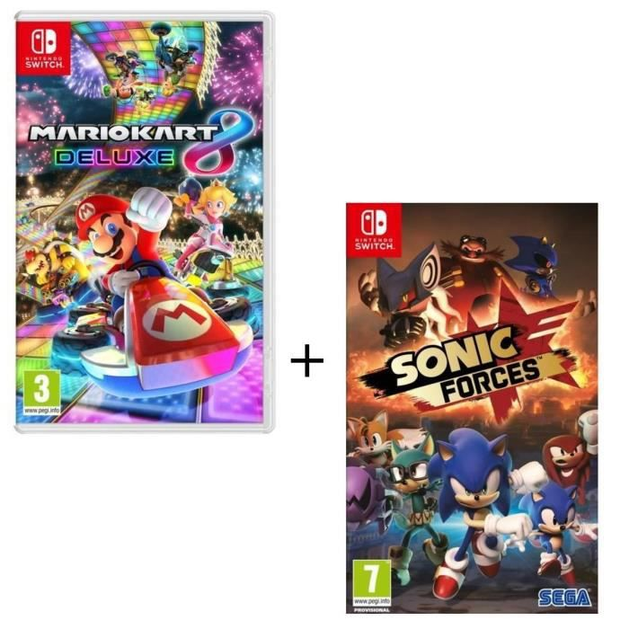 Pack de 2 jeux Nintendo Switch : Mario Kart 8 Deluxe + Sonic Forces