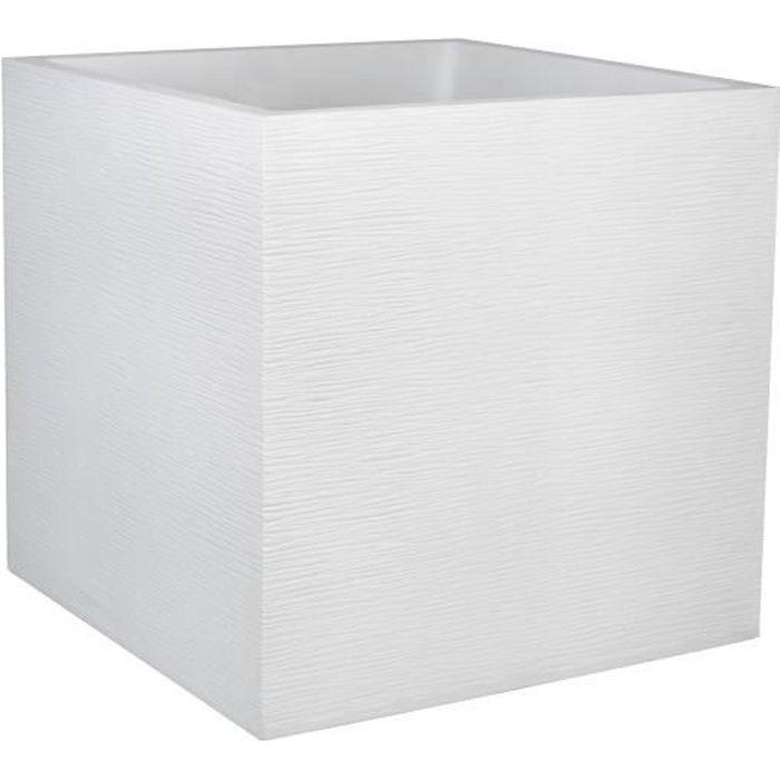 EDA Plastiques Pot carr/é GRAPHIT Blanc c/érus/é 39,5 x 39,5 x 80 cm 13738 BL.CER SX1