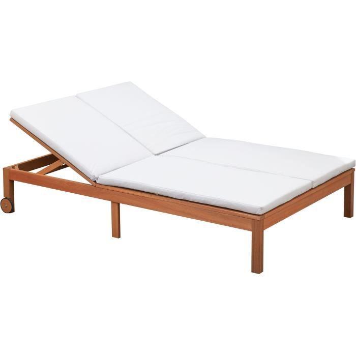 Bain de soleil - En bois d'eucalyptus FSC - 2 places avec coussins