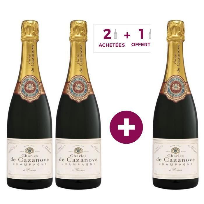 2 achetées + 1 offerte - Champagne Charles de Cazanove Classique