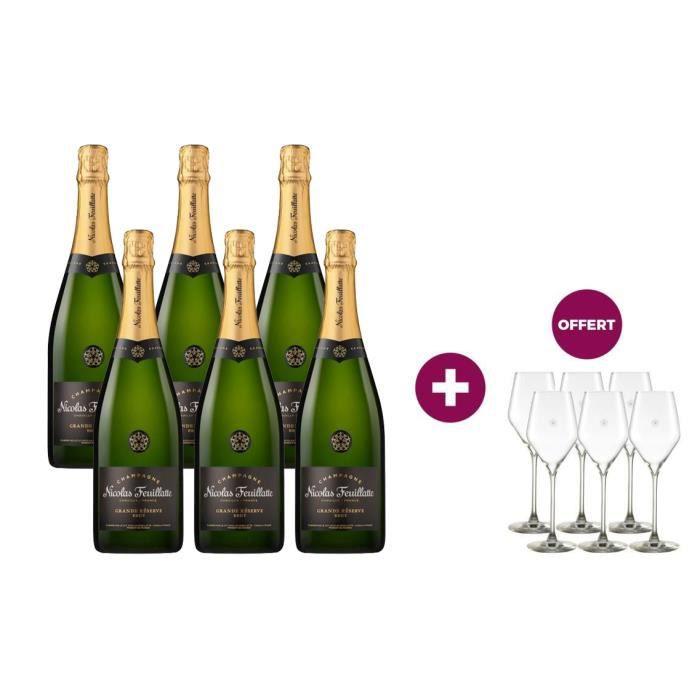 6 Champagne Nicolas Feuillatte Grande Réserve Brut 75 cl = 6 flûtes offertes