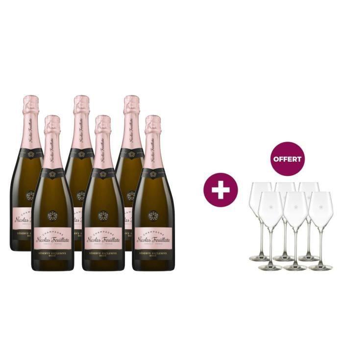 6 Champagne Nicolas Feuillatte Grande Réserve Rosé 75 cl = 6 flûtes offertes
