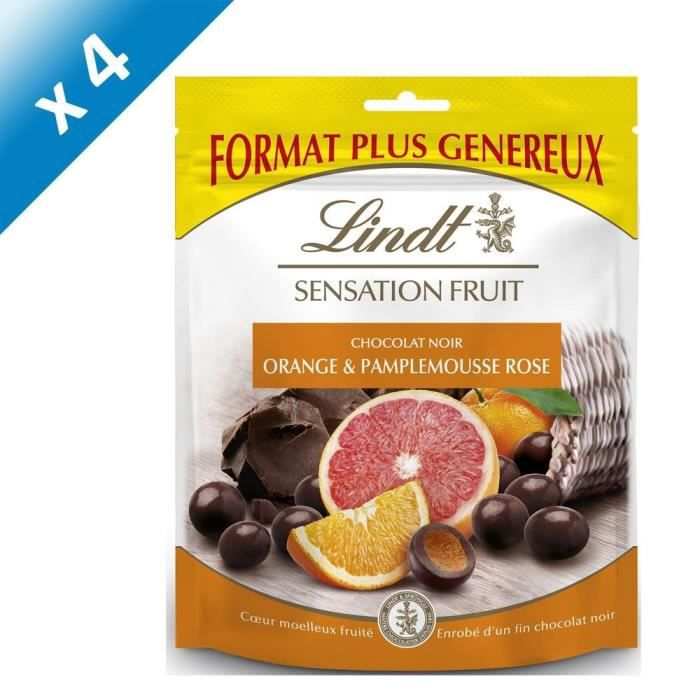 [LOT DE 4] LINDT Sensation Fruit orange et Pamplemousse Rose