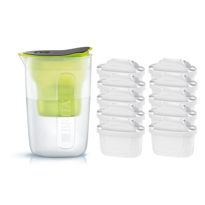 Pack BRITA Carafe filtrante FUN Vert + 10 Cartouches de rechange