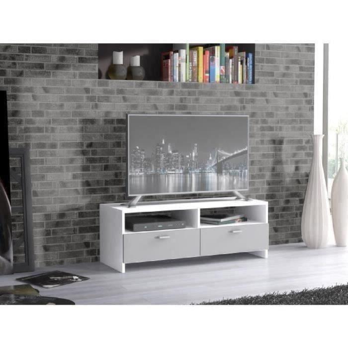 PILVI Meuble TV - Contemporain - Blanc et gris mat - L 95 cm