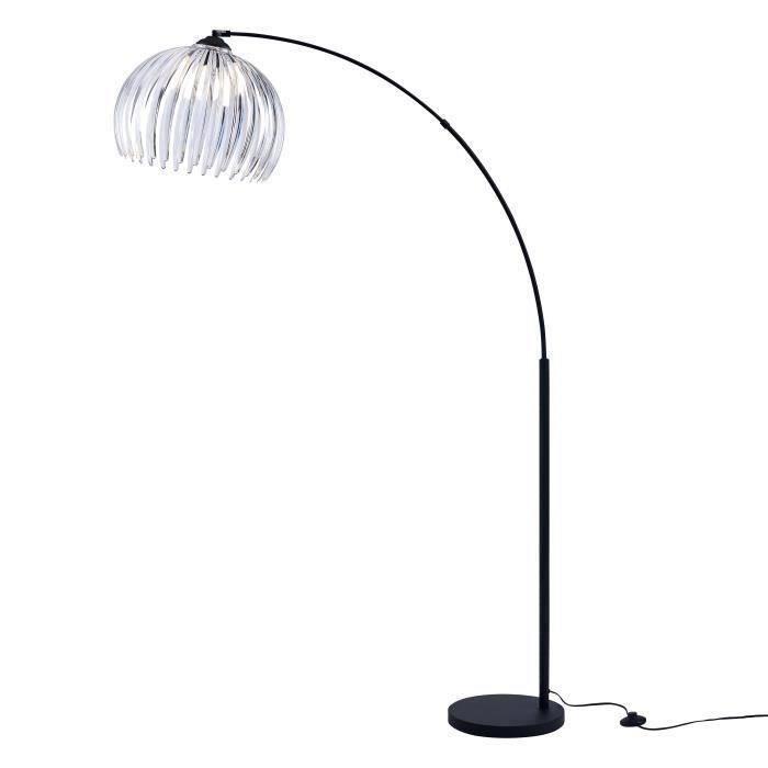 DAISY Lampadaire Arc Métal Noir - Double Réflecteur Acrylique Transparent/Blanc - L 40 x P 110 x H 170