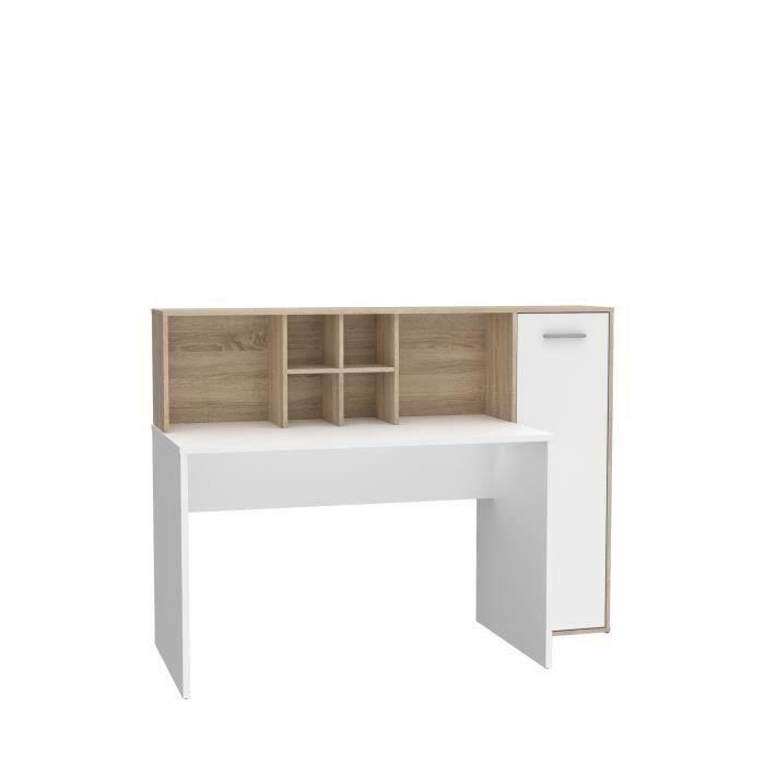 Bureau gauche/droite 1 porte - Décor Blanc mat et chêne sonoma - L 158 x P 60 x H 116 cm - ERIADU