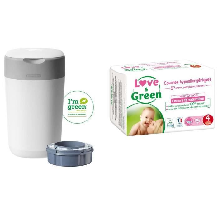 TOMMEE TIPPEE, LOVE & GREEN Lot poubelle à couches twist & click + Couches Taille 4+ x42 (9-20 kg)