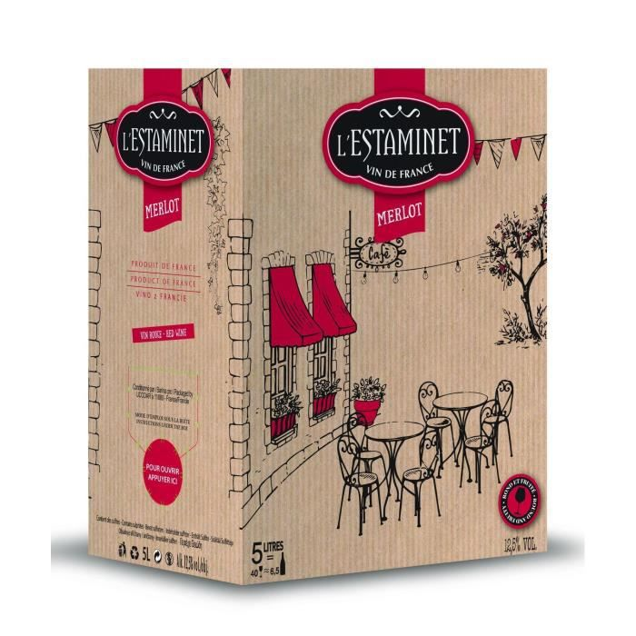 L'Estaminet Merlot Vin de France - Vin rouge de Languedoc - Bib 5 L