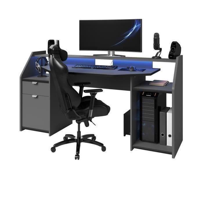GAMING Bureau de gamer - Gris ombre et noir - L 180 cm