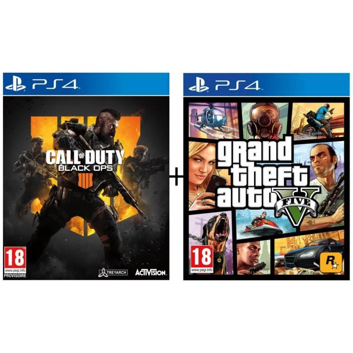 Pack 2 jeux PS4 : Call of Duty Black OPS 4 + GTA V