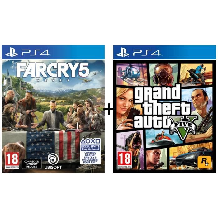 Pack 2 jeux PS4 : Far Cry 5 + GTA V