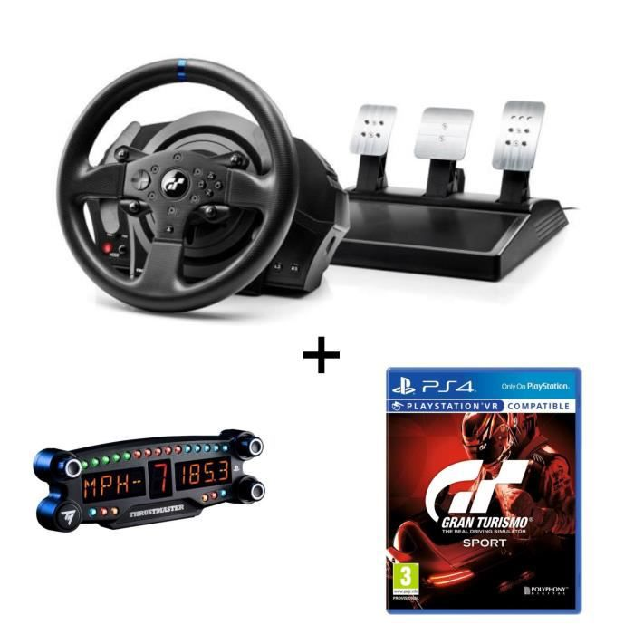 THRUSTMASTER Pack Volant T300RS GT Edition - PS3 / PS4 / PC + Afficheur BT Led Display - PS4 + Gran Turismo Sport Jeu PS4/VR