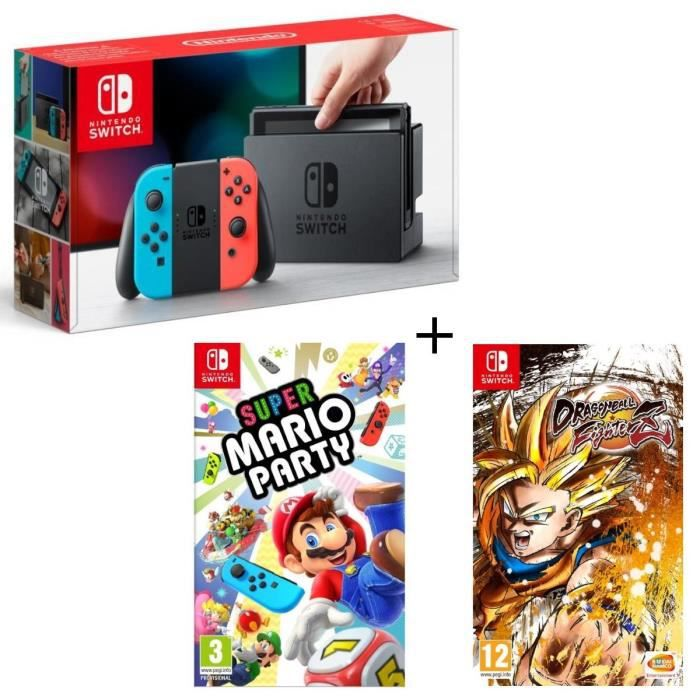 Pack nintendo switch néon dragon ball fighterz code in a box super mario party