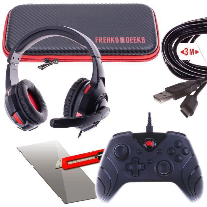 Pack Sacoche avec dragonne + Casque boucle avec Micro Noir + Cable de charge Type C3m + Verre trempé Switch + Manette filaire Noire