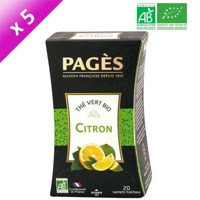 PAGES Lot de 5 Thés Vert Citron Bio