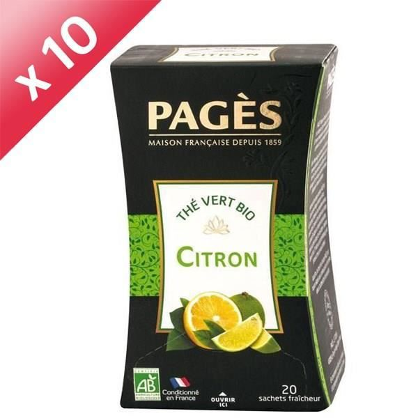 PAGES Lot de 10 Thés Vert Citron Bio