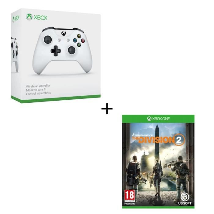 Manette sans fil Xbox One blanche compatible PC + The Division 2 Jeu Xbox One
