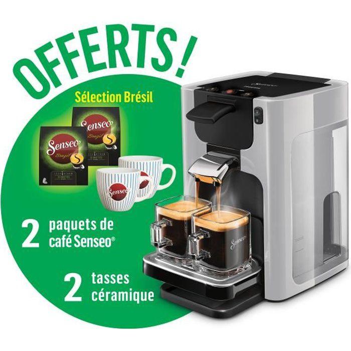 PHILIPS HD7866/11 Senseo Quadrante Machine à café dosette Grise + 2 paquets de café offert + 2 tasses offertes