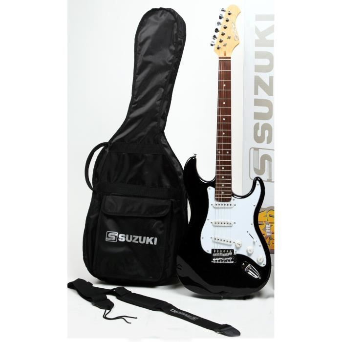 SUZUKI Guitare électrique noire type stratocaster