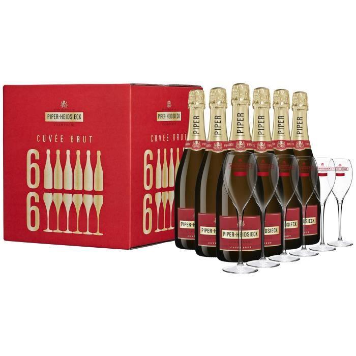 Champagne Piper Heidsieck Party Case Brut - 6 bouteilles x 75 cl + 6 flûtes
