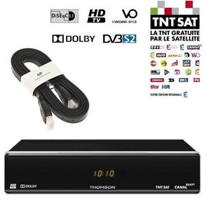 THOMSON THS 804 Décodeur TNT HD satellite TNTSAT + Câble HDMI CONTINENTAL EDISON 2.0 1.5m slim 4K / U