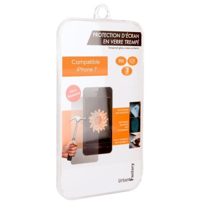 URBAN FACTORY Verre trempé pour iPhone 7