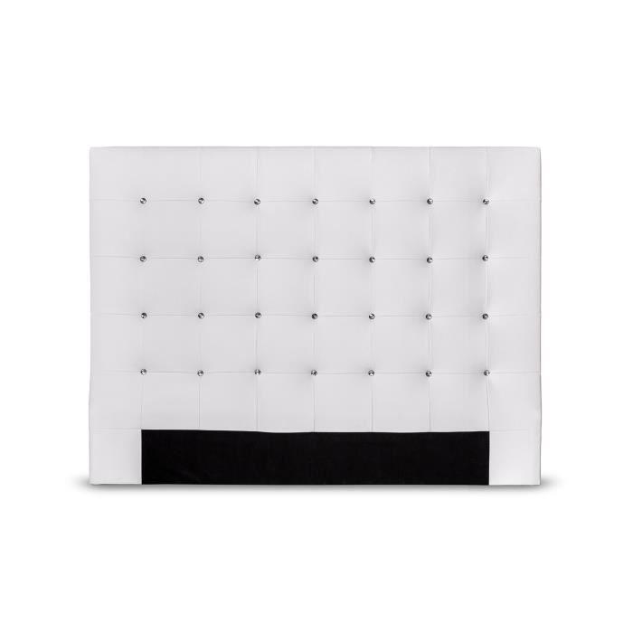 SOGNO Tête de Lit capitonnées 150cm - Simili Blanc et boutons strass