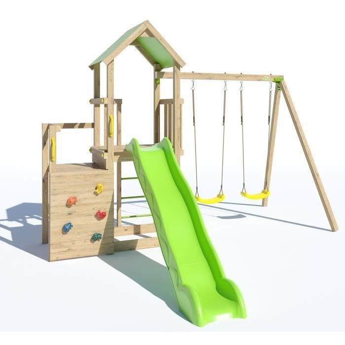 Aire de jeux ULTRA XPERIENCE, 2PF 1,20m, 0,98m, toboggan 2,63m, mur de grimpe, bac à sable + extension portique 2,20m, 2 balançoires