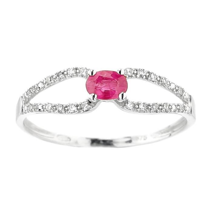YSORA Bague Or gris 375° Diamants et Rubis 0,26 ct Femme