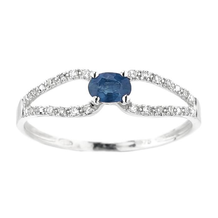 YSORA Bague Or gris 375° Diamants et Saphir 0,26 ct Femme