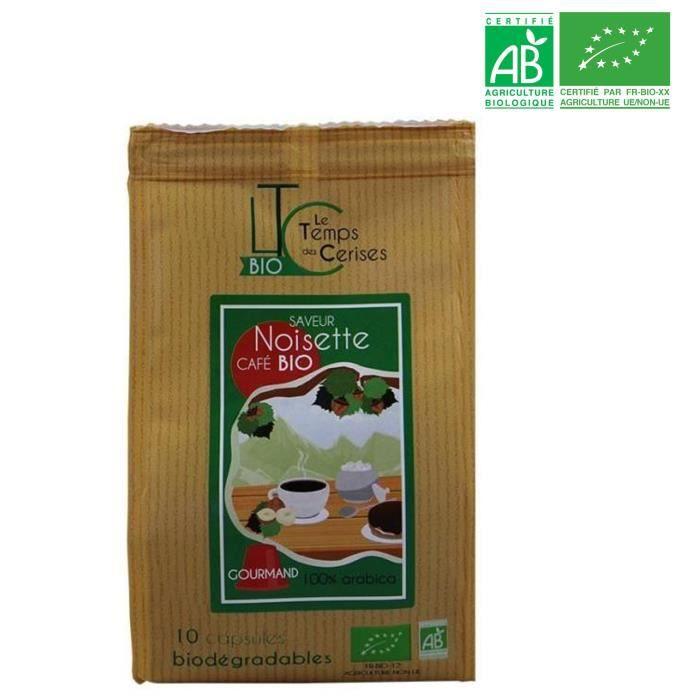 LE TEMPS DES CERISES Café BIO saveur Noisette 10 capsules - Compatible Nespresso® - 50 G