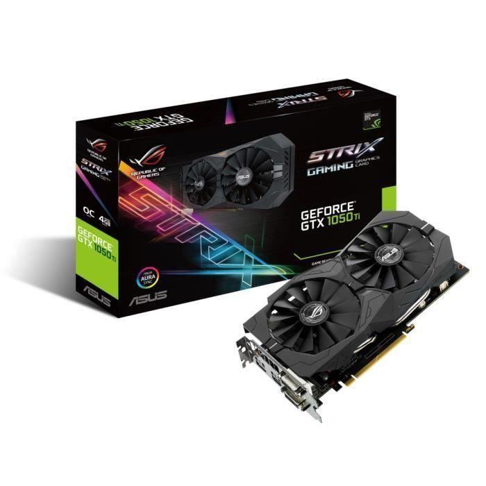 Asus Carte graphique Geforce Strix Gtx 1050 Ti O4g Gaming 4Go Gddr5
