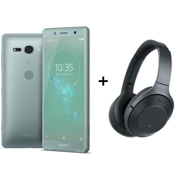 Sony Xperia XZ2 Compact Vert + Sony WH-1000XM2 Casque sans fil Bluetooth NFC