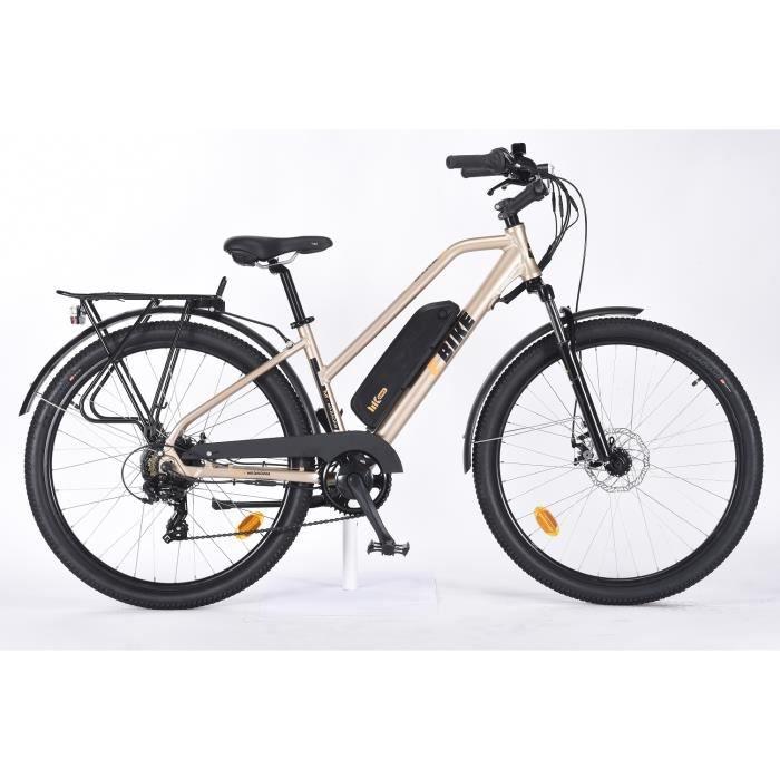 Vélo électrique 27,5- - Autonomie 45 km - 7 vitesses avec Shimano - Freins à disque - Cadre alu - Femme - Or