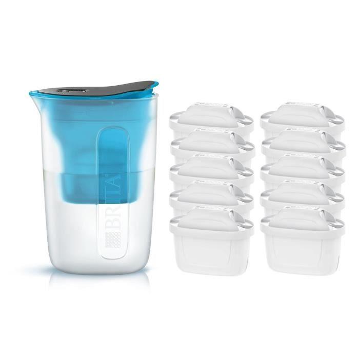 Pack BRITA Carafe filtrante FUN Bleu + 10 Cartouches de rechange