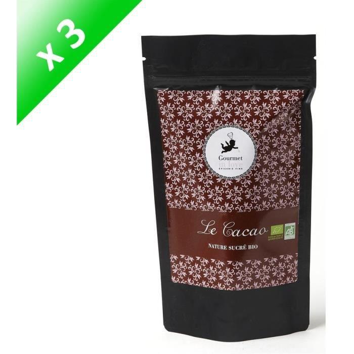 [LOT DE 3] GOURMET IN LOVE Cacao Nature Sucré Zip Pack - 200 g