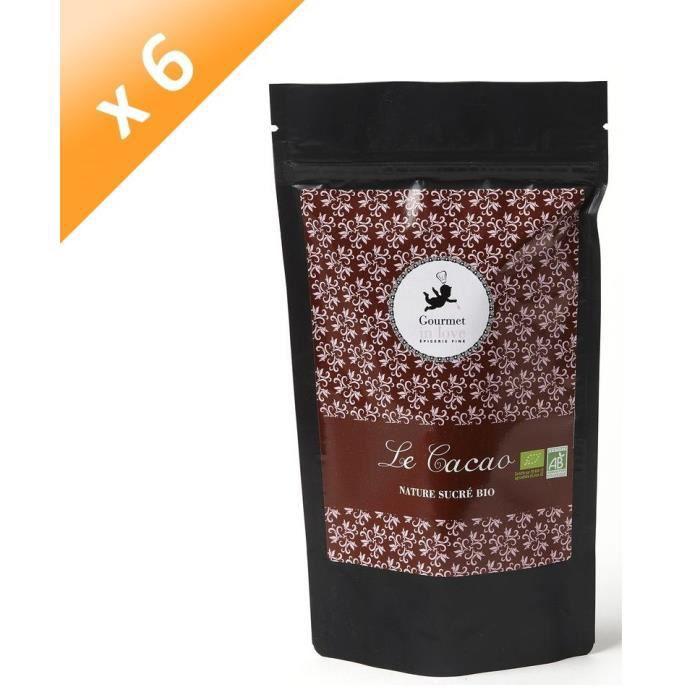 [LOT DE 6] GOURMET IN LOVE Cacao Nature Sucré Zip Pack - 200 g