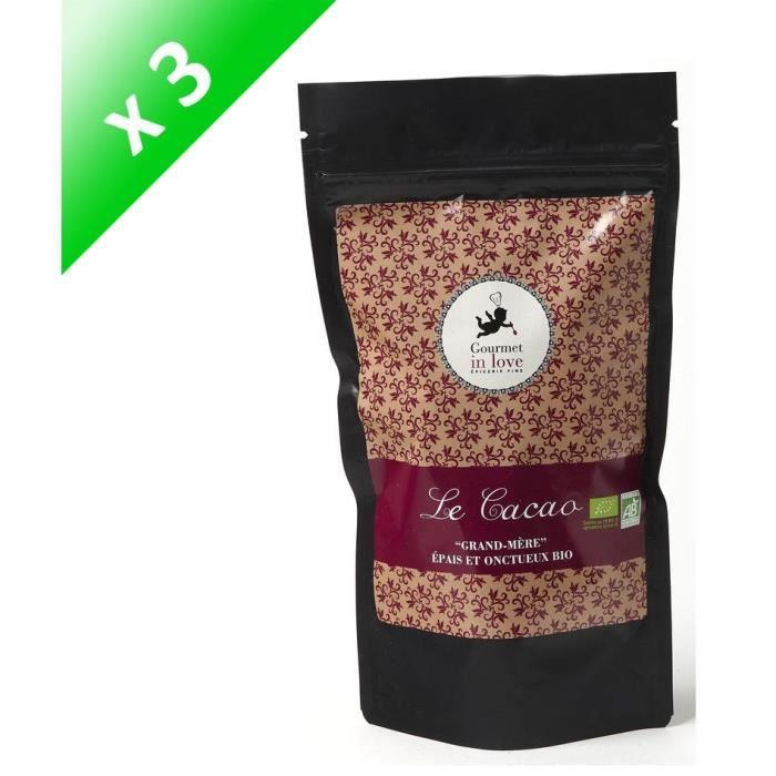 """[LOT DE 3] GOURMET IN LOVE Cacao """"Grand-mère"""" Épais et Onctueux Zip Pack - 200 g"""