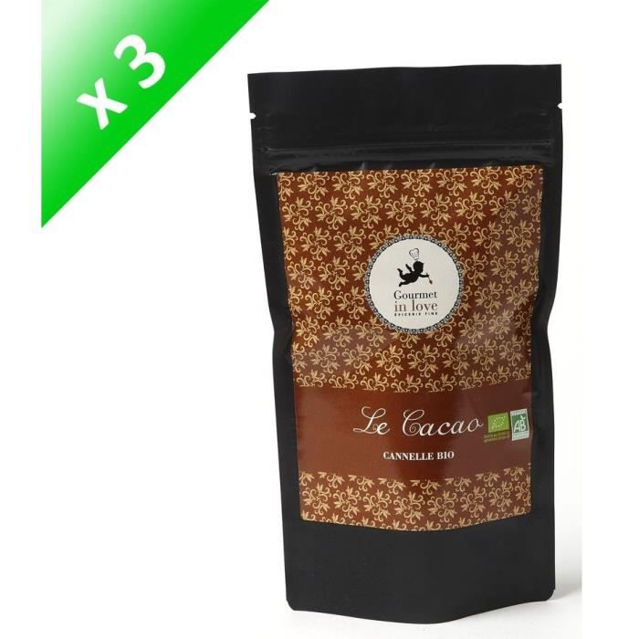 [LOT DE 3] GOURMET IN LOVE Cacao Saveur Cannelle Zip Pack - 200 g