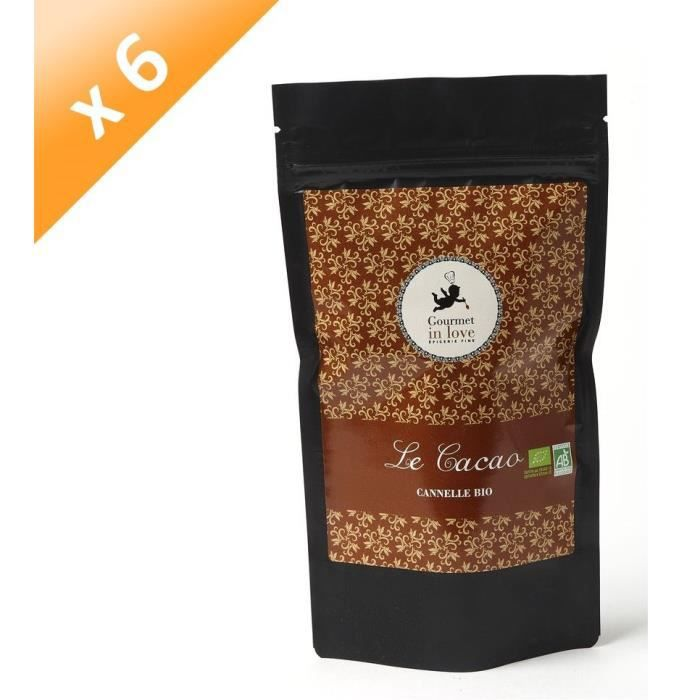 [LOT DE 6] GOURMET IN LOVE Cacao Saveur Cannelle Zip Pack - 200 g