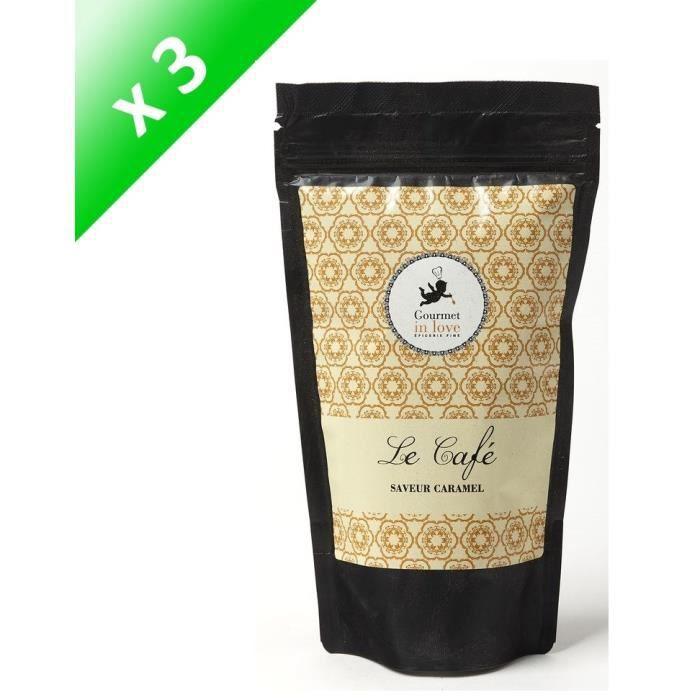 [LOT DE 3] GOURMET IN LOVE Café Saveur Caramel Zip Pack - 125 g