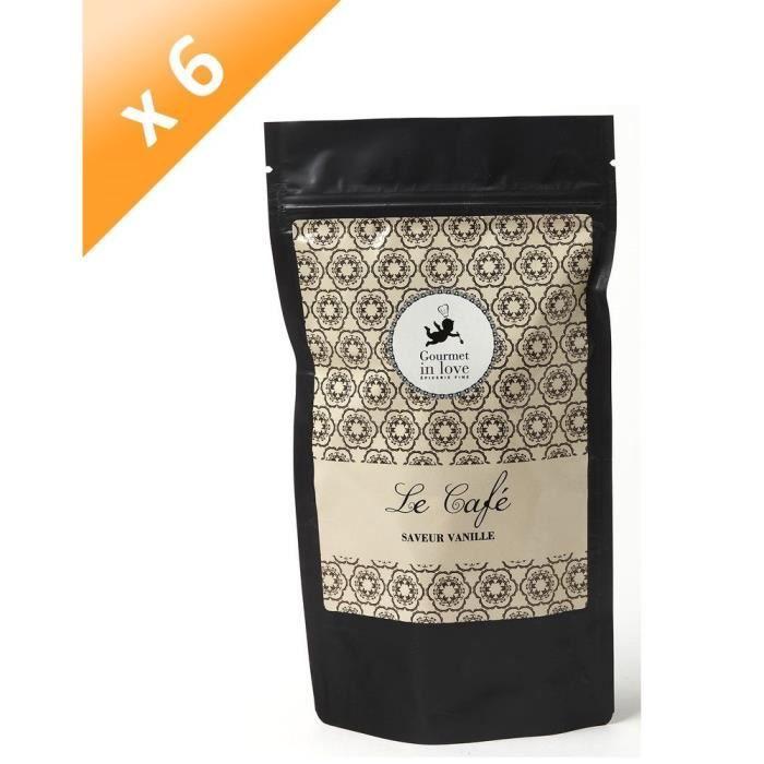 [LOT DE 6] GOURMET IN LOVE Café Saveur Vanille Zip Pack - 125 g