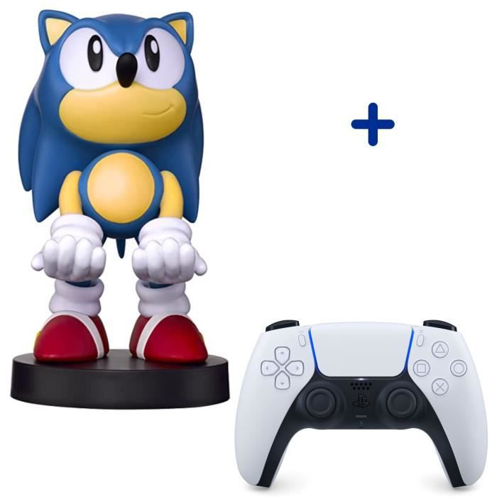 Pack PlayStation : Manette PS5 DualSense Blanche/White + Figurine Sonic The Hedgehog - Support de Manette Exquisite Gaming