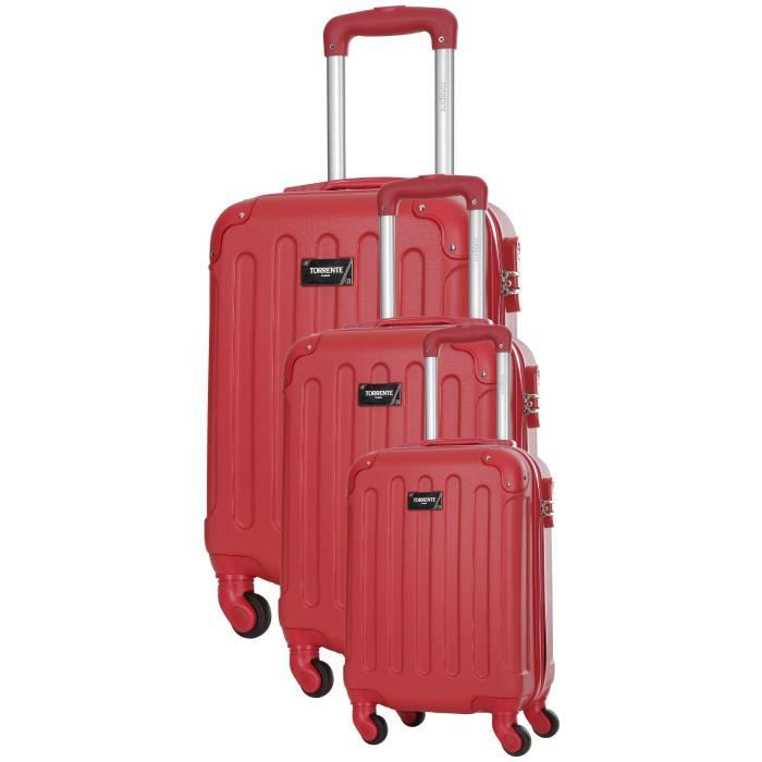 TORRENTE Ensemble 3 Valises Rigide ABS 4 Roues S-M-L HYPNOS Rouge